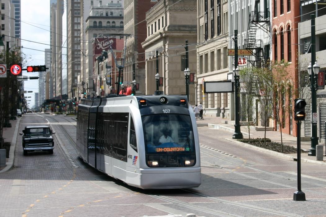 Light rail on Main Street downtown.